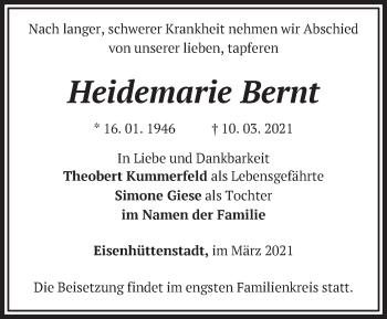 Anzeige Heidemarie Bernt