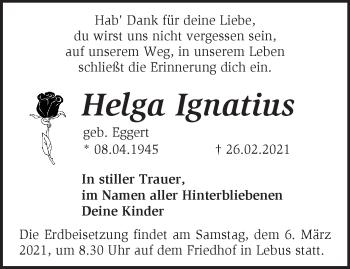 Anzeige Helga Ignatius