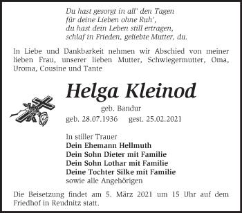 Anzeige Helga Kleinod