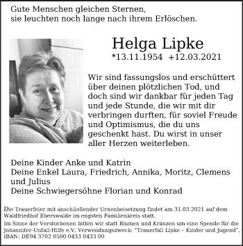 Anzeige Helga Lipke