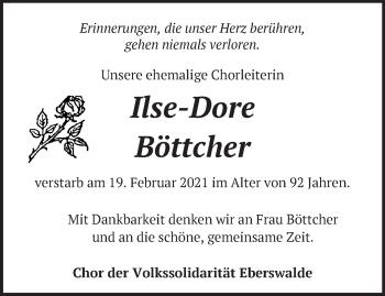 Anzeige Ilse-Dore Böttcher
