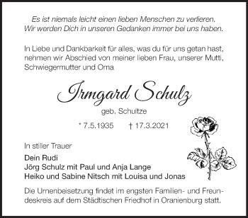 Anzeige Irmgard Schulz