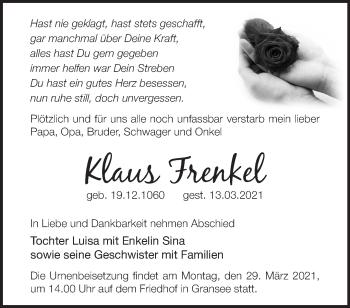 Anzeige Klaus Frenkel
