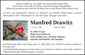 Anzeige Manfred Drawitz