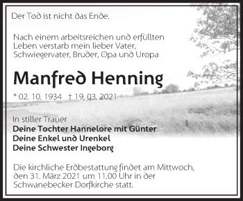 Anzeige Manfred Henning