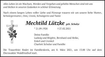 Anzeige Mechtild Lützke