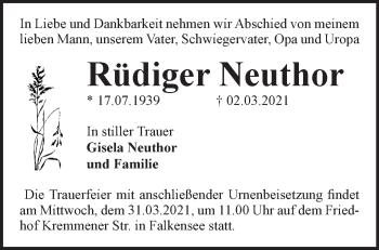 Anzeige Rüdiger Neuthor