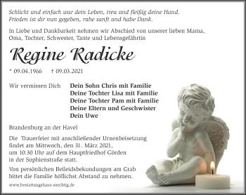 Anzeige Regine Radicke