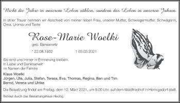 Anzeige Rose-Marie Woelki