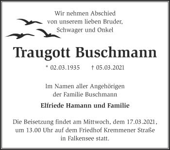 Anzeige Traugott Buschmann