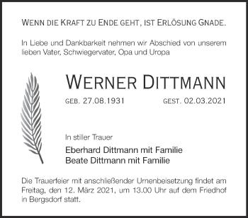 Anzeige Werner Dittmann