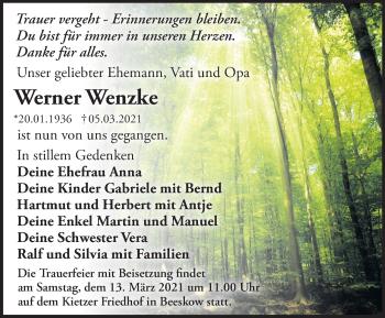 Anzeige Werner Wenzke