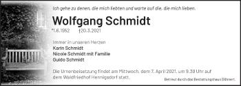 Anzeige Wolfgang Schmidt