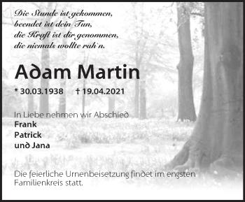 Anzeige Adam Martin