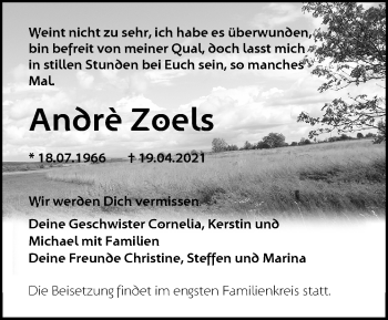 Anzeige André Zoels