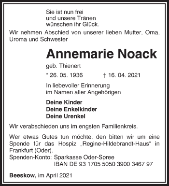 Anzeige Annemarie Noack