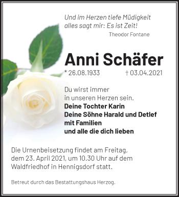 Anzeige Anni Schäfer