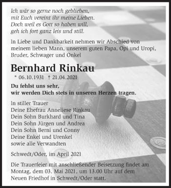 Anzeige Bernhard Rinkau