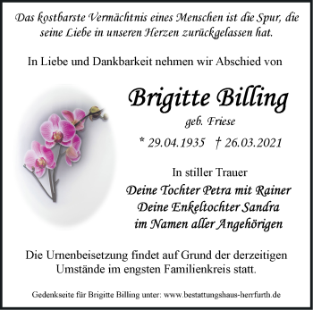 Anzeige Brigitte Billing