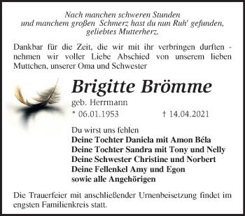 Anzeige Brigitte Brömme