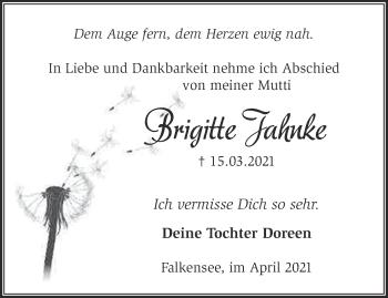 Anzeige Brigitte Jahnke