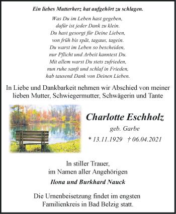 Anzeige Charlotte Eschholz