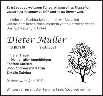 Anzeige Dieter Müller