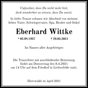 Anzeige Eberhard Wittke