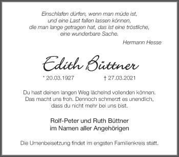 Anzeige Edith Büttner