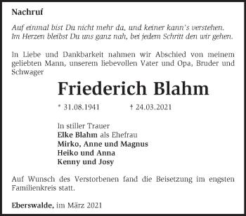Anzeige Friederich Blahm