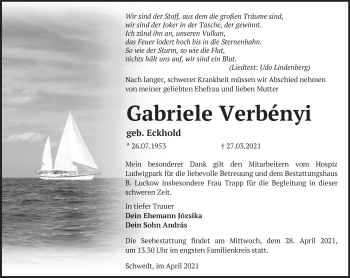 Anzeige Gabriele Verbényi