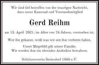 Anzeige Gerd Reihm