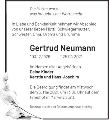 Anzeige Gertrud Neumann
