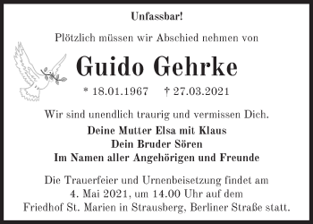 Anzeige Guido Gehrke