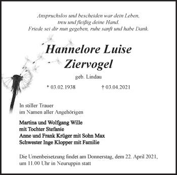 Anzeige Hannelore Luise Ziervogel