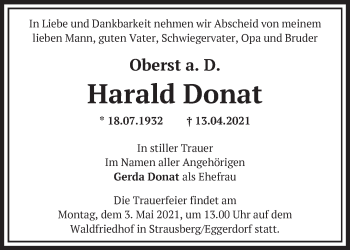 Anzeige Harald Donat