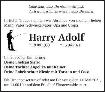Anzeige Harry Adolf