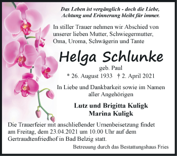 Anzeige Helga Schlunke