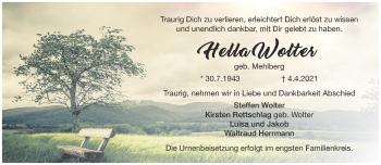 Anzeige Hella Wolter