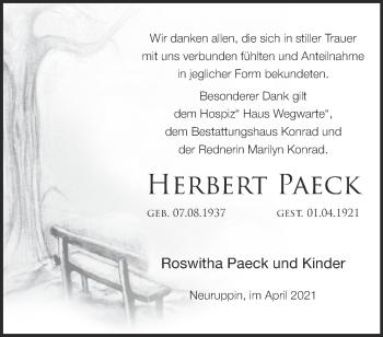 Anzeige Herbert Paeck