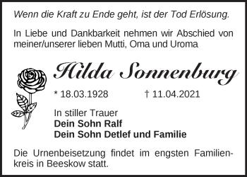 Anzeige Hilda Sonnenburg