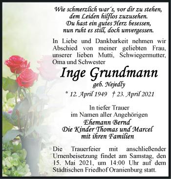 Anzeige Inge Grundmann