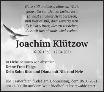 Anzeige Joachim Klützow
