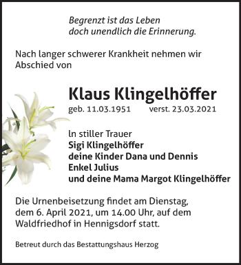 Anzeige Klaus Klingelhöffer