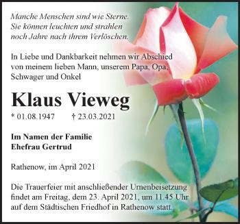 Anzeige Klaus Vieweg