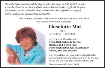 Anzeige Lieselotte Mai