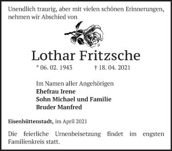 Anzeige Lothar Fritsche
