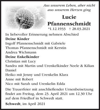 Anzeige Lucie Pfannenschmidt