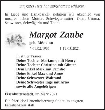 Anzeige Margot Zaube