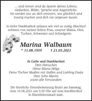 Anzeige Marina Walbaum